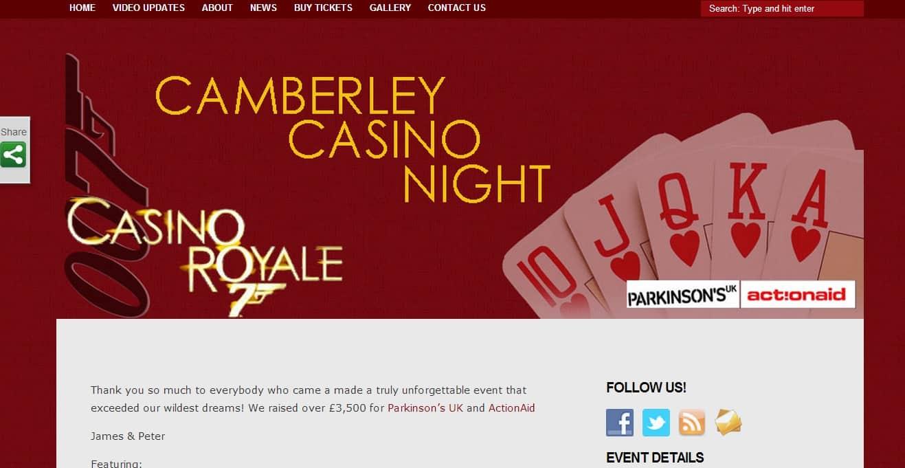 Camberley Casino Night Website